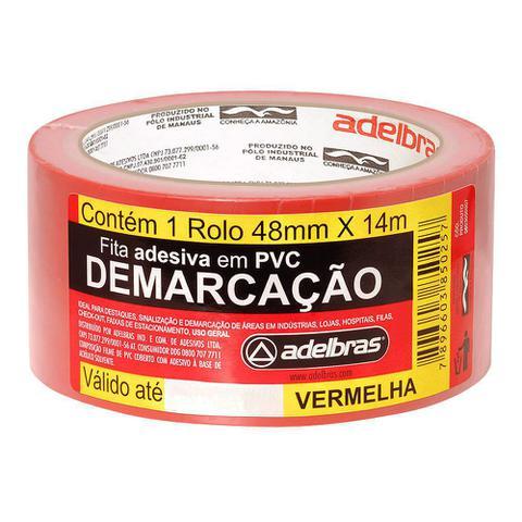 Imagem de Fita para Demarcação De Solo EPI Adelbrás Vermelho 14mts 48mm