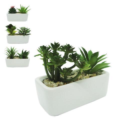 Imagem de Flor artificial suculenta dupla vaso de porcelana modelo jardineira / floreira 11x9cm