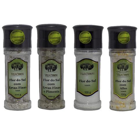 Imagem de Flor de Sal com ervas, com Ervas e Pimenta, só Sal, e com Alho