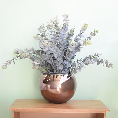 Imagem de Flores artificiais Arranjo de Eucaliptos no Vaso de Vidro Bronze Envelhecido  Linha permanente Formosinha