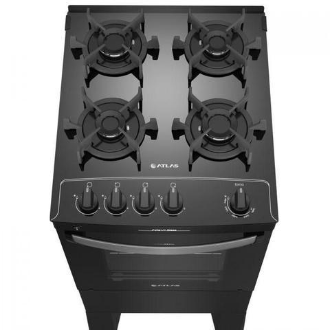 Imagem de Fogão 4 bocas Atlas Agile Up Preto com Mesa de Vidro - Bivolt