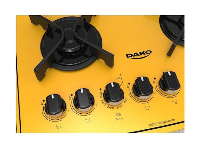 Imagem de Fogão 4 Bocas de Embutir Dako Amarelo com Grill