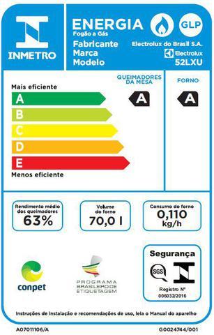 Imagem de Fogão 4 Bocas Electrolux Prata Automático com Forno de 70L e Vidro Interno Removível (52LXU)