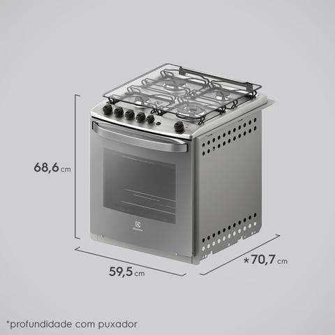 Imagem de Fogão 4 Bocas Electrolux Prata Automático com Grill e Tripla Chama (56EXT)