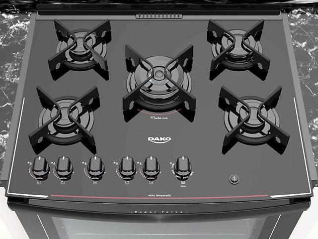 Imagem de Fogão 5 Bocas de Embutir Dako Preto - Acendimento Automático Glass DE5VUP-PF0