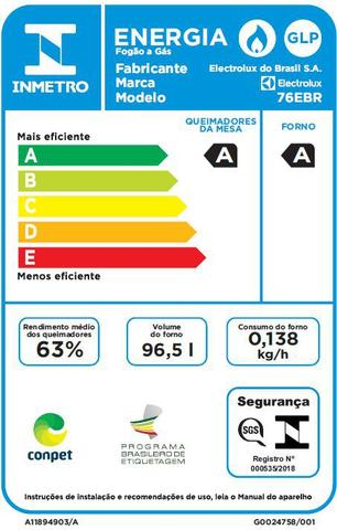 Imagem de Fogão 5 Bocas de Embutir Electrolux Preto Automático com Grill e Tripla Chama (76EBR)