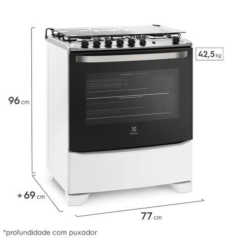 Imagem de Fogão 5 Bocas Electrolux Branco Automático com Tripla Chama e Timer (76UBQ)
