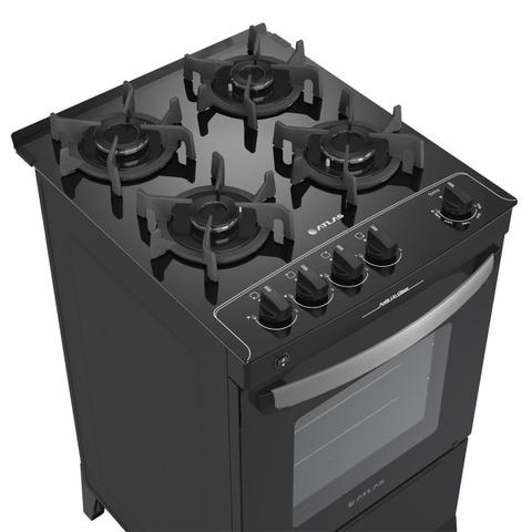 Imagem de Fogão A Gás 4 Bocas Agile Atlas Up Glass Automático Mesa De Vidro Bivolt