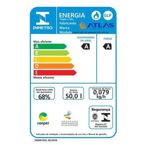 Imagem de Fogão A Gás 4 Bocas Atlas Mônaco Plus Acendimento Automático