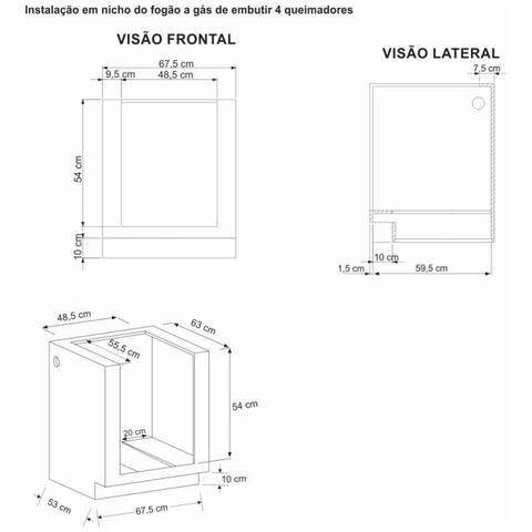 Imagem de Fogao a Gas de embutir Gaudi Platinum 4 Q GII Inox Gás Glp