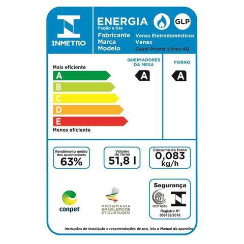 Imagem de Fogao a Gas de embutir Gaudi Prisma Vitreo 4Q Inox Gás Glp
