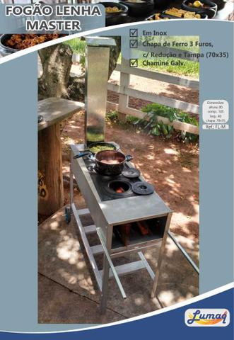 Imagem de Fogão a Lenha Inox Portátil Master Com Chapa de Ferro Fundido Três Furos e Redutor