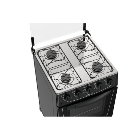 Imagem de Fogão Atlas 4 bocas preto com forno limpa fácil - Coliseum com Acendimento manual + Trempe dupla e Forno 50L