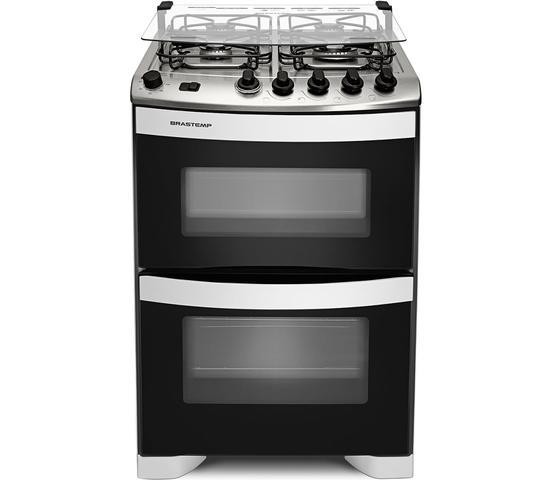 Imagem de Fogão Brastemp 4 bocas duplo forno Branco com botões removíveis