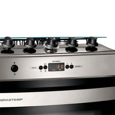 Imagem de Fogão Brastemp 4 bocas embutir cor Inox com timer digital