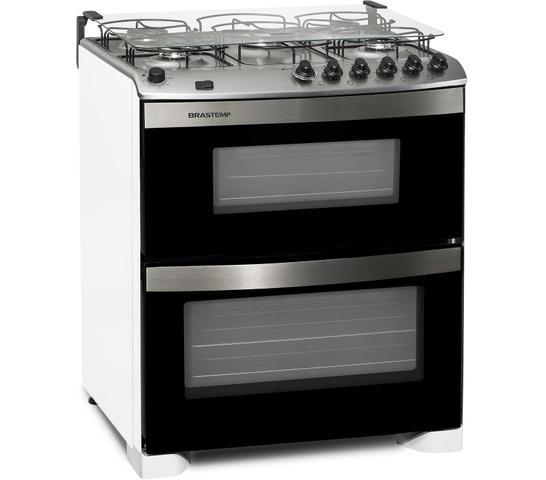 Imagem de Fogão Brastemp 5 bocas duplo forno Branco com acendimento automático