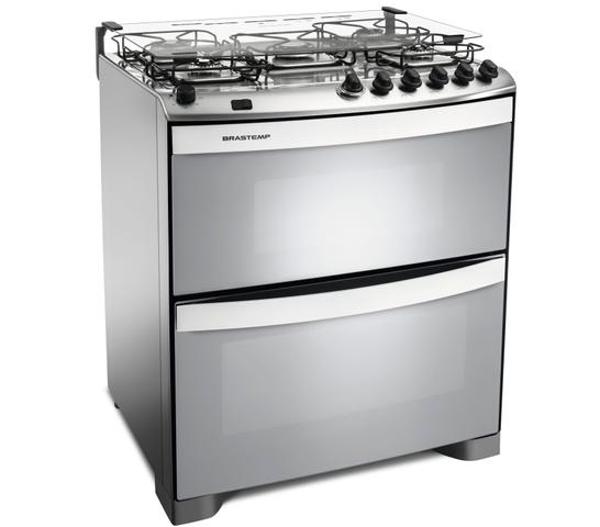 Imagem de Fogão Brastemp 5 bocas duplo forno cor Inox com acendimento automático e mesa flat top