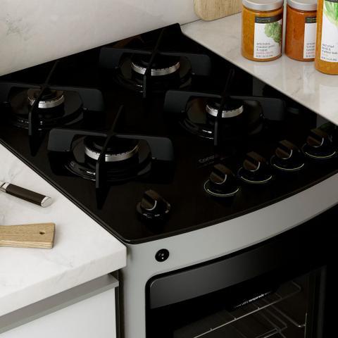 Imagem de Fogão Consul 4 bocas cor Inox com mesa de vidro e trempe de ferro fundido