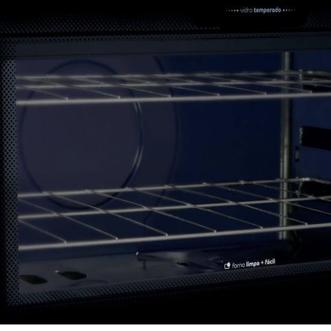 Imagem de Fogão Consul 5 bocas titanium com mesa de vidro e trempe de ferro fundido