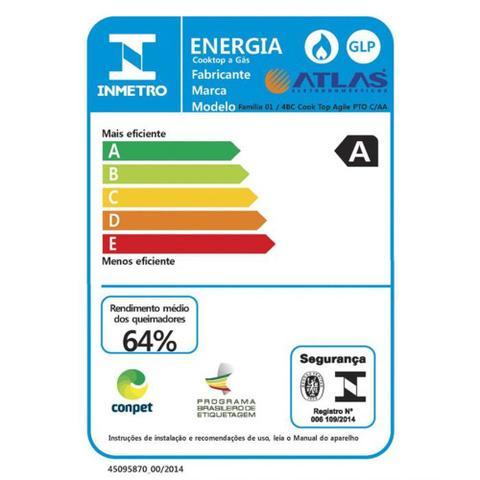 Imagem de Fogão Cooktop Atlas a Gas Agile 4 Bocas Preto Bivolt