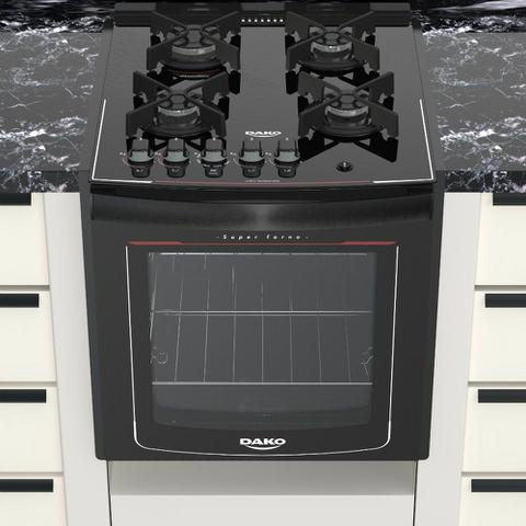 Imagem de Fogão de Embutir 4 Bocas Dako Glass DE4VUP com Mesa de Vidro