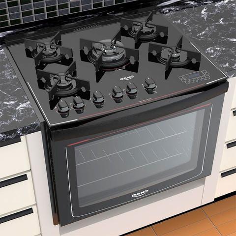 Imagem de Fogão de Embutir 5 Bocas Dako Acendimento Automático Glass Grill com Mesa de Vidro DE5VT-PFO