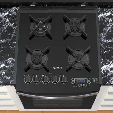 Imagem de Fogão de embutir Atlas 4 bocas preto mesa de vidro - Top Gourmet Glass
