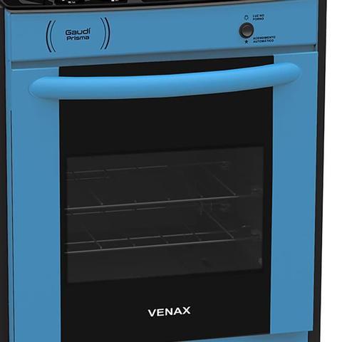 Imagem de Fogão De Embutir Venax Gaudi Prisma Vítreo 4 Bocas Azul Bivolt