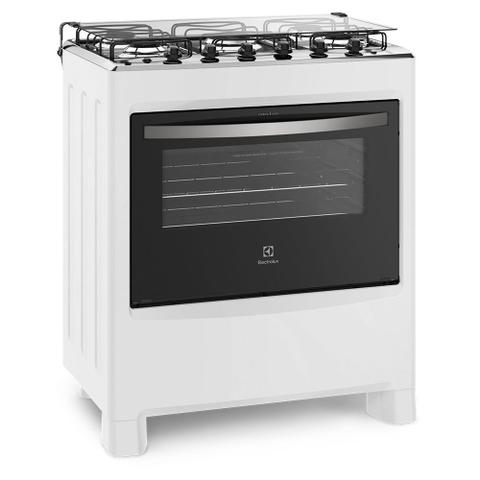 Imagem de Fogão de Piso Branco com 5 Bocas e Vidro Interno Removível Electrolux (76LBU)