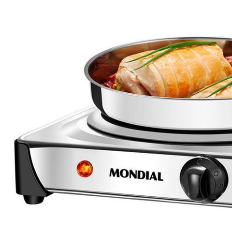 Imagem de Fogão Elétrico 1 Boca de Mesa Inox 1000W - Mondial Fast Cook FE-04 110v