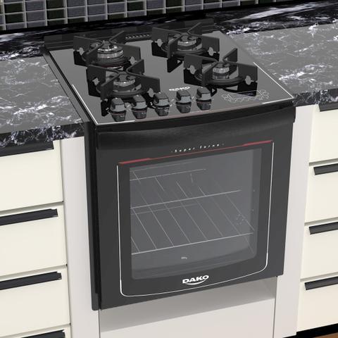 Imagem de Fogão Embutir 4 bocas Dako Preto mesa de vidro - Turbo Glass com Acendimento superautomático + Trempes de ferro fundido e Display digital - Bivolt