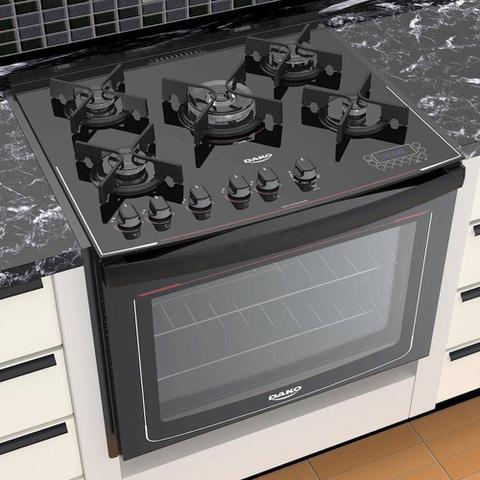 Imagem de Fogão Embutir 5 bocas Preto mesa de vidro - Dako Turbo Glass DE5VT-PF0