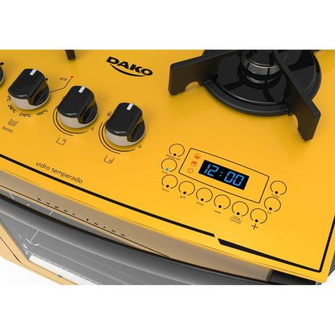 Imagem de Fogão Embutir Dako Amarelo 4 bocas mesa de vidro - Dakolors com Acendimento superautomático + Trempes de ferro fundido e Display digital - Bivolt