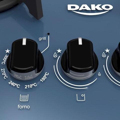 Imagem de Fogão Embutir Dako Azul 4 bocas mesa de vidro Dakolors - Bivolt