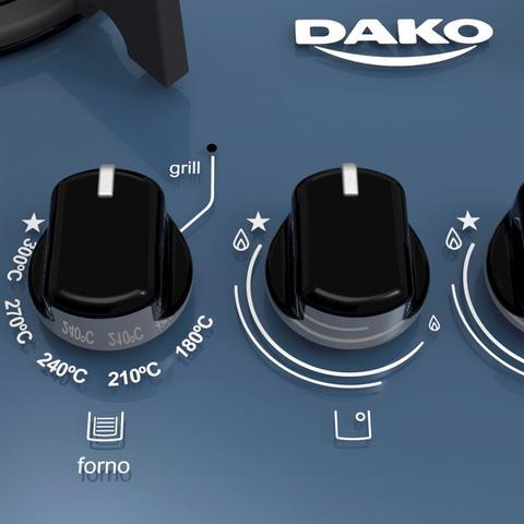 Imagem de Fogão Embutir Dako Azul 4 bocas mesa de vidro - Dakolors com Acendimento superautomático + Trempes de ferro fundido e Display digital - Bivolt