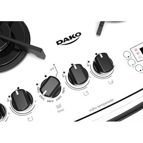 Imagem de Fogão Embutir Dako Branco 4 bocas mesa de vidro - Dakolors com Acendimento superautomático + Trempes de ferro fundido e Display digital - Bivolt