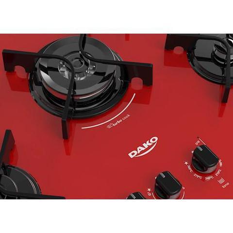 Imagem de Fogão Embutir Dako Vermelho 5 bocas mesa de vidro Dakolors - Bivolt