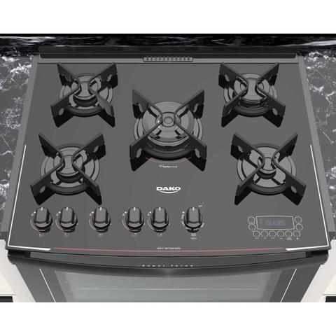 Imagem de Fogão Embutir Preto 5 bocas mesa de vidro - Dako Turbo Glass DE5VT-PF0