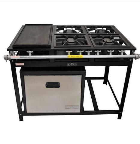 Imagem de fogão industrial 4 bocas com chapa e forno gastromixx