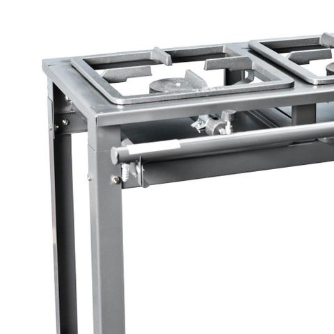 Imagem de Fogão industrial à gás 2 bocas 2 queimadores simples porta panela alta pressão grafite