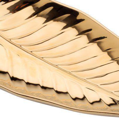 Imagem de Folha decorativa 22 x 11,5 cm de porcelana dourada Anthurium Prestige - 26822