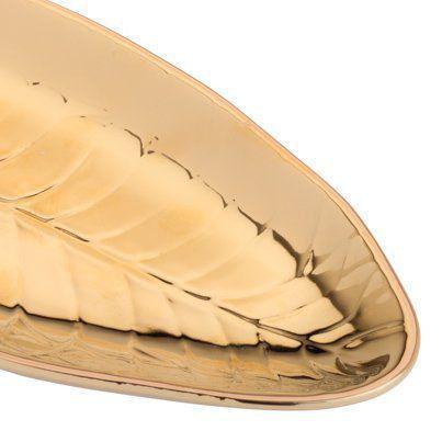 Imagem de Folha decorativa 25,5 x 10 cm de porcelana dourada Pachira Prestige - 26816