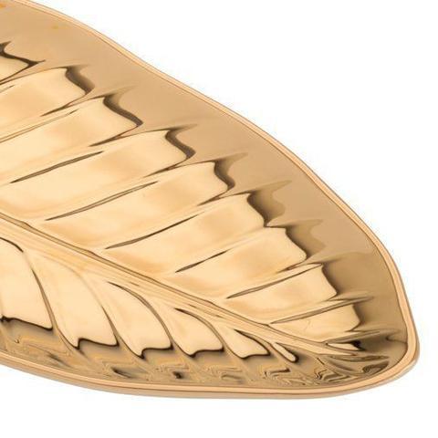 Imagem de Folha decorativa 28,5 x 15 cm de porcelana dourada Anthurium Prestige - 26820
