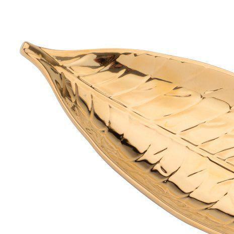 Imagem de Folha decorativa 31,5 x 12 cm de porcelana dourada Pachira Prestige - 26814