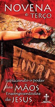 Imagem de Folheto da novena e do terço mãos ensanguentadas de jesus