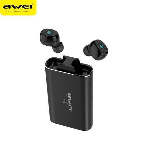 Fone de Ouvido Intra-auricular Sem Fio Bluetooth Preto Awei T8
