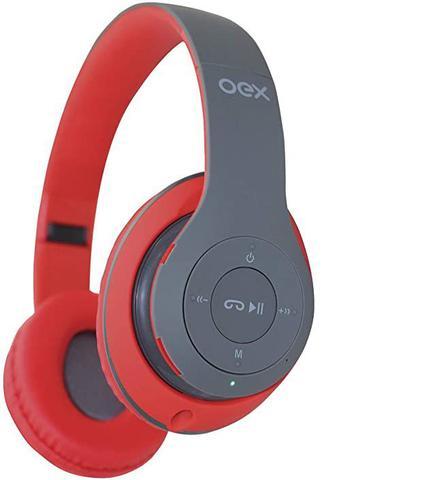 Fone de Ouvido Headset Bluetooth Loud Preto e Vermelho Oex Hs304