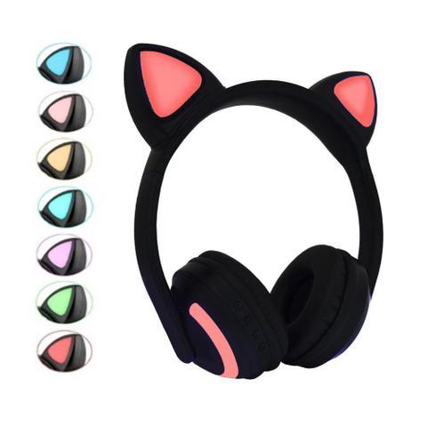 Imagem de Fone de Gatinho com 7 Cores de LED Sem fio com Microfone Headset Orelha de Gato Preto com Rosa