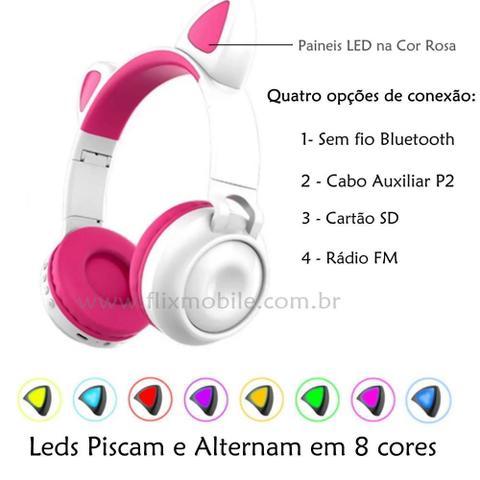 Imagem de Fone de Gatinho LED 8 Cores Sem fio com Microfone Headset Orelha de Gato Branco
