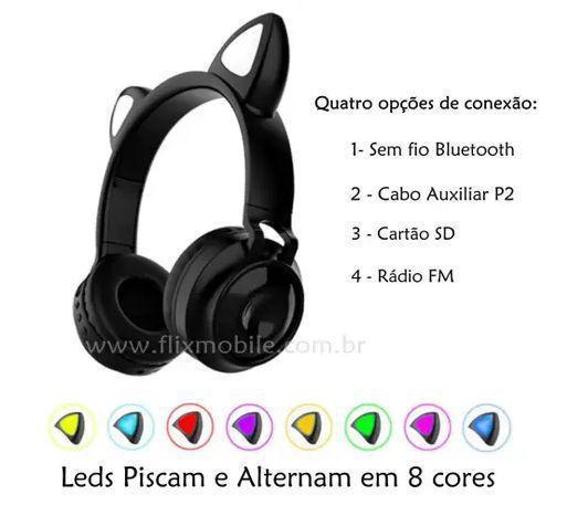 Imagem de Fone de Gatinho LED 8 Cores Sem fio com Microfone Headset Orelha de Gato - Inova